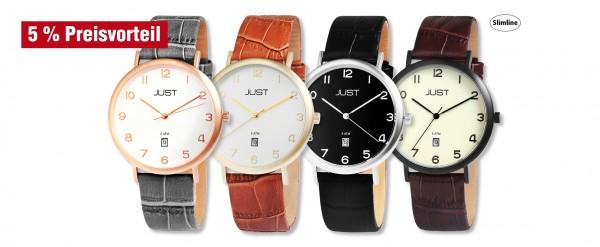 Just Herren Analog Uhren mit Echlederband im 4er-Set, 5% Preisvorteil