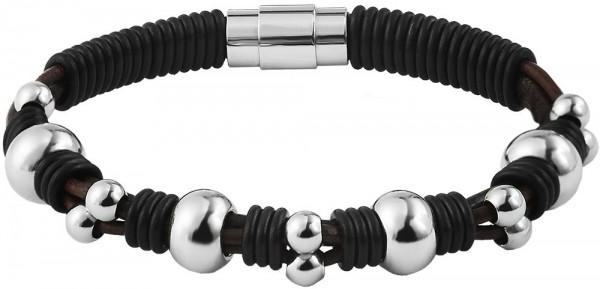 Akzent Geflochtenes Armband aus Echtleder und Edelstahl in silberfarbig