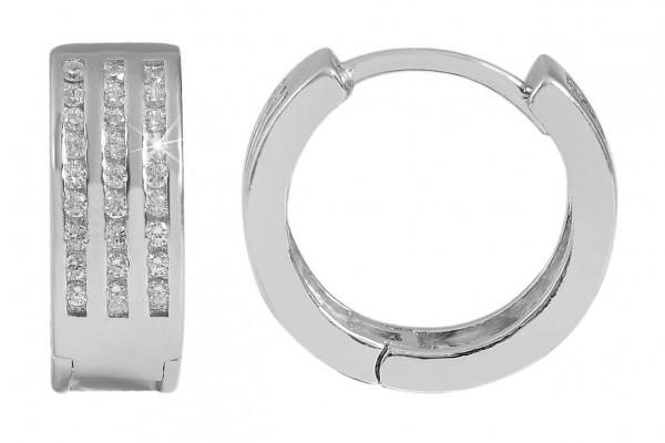 925 Silber Ohrringe, 925/rhodiniert, 5,86 g, Steinbesatz, Durchmesser: 1,7 cm / Stärke: 0,2 cm