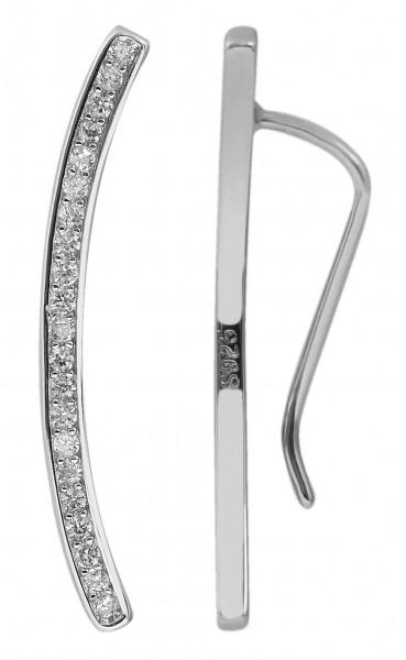 Silber Ohrringe Lang hängend mit 42 weisen Zirkonia Steine 925/rhodiniert