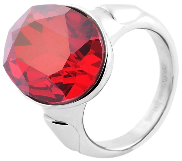 Damenring aus Edelstahl, rot, Gr. 62