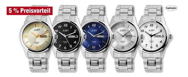 Just Herren Analog Uhren mit Edelstahlband im 5er-Set, 5% Preisvorteil