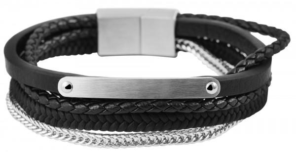 Echt Leder Armband mit Edelstahlelementen, 21cm, mit Verlängerungselement