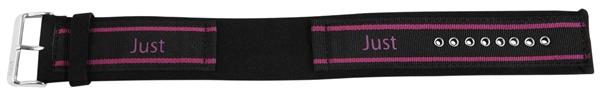 Just Textil Unterlegband in schwarz/pink, 24 mm Anstoß, Edelstahldornschließe