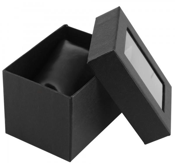 Uhrenbox aus Pappe mit Sichtfenster, 10 x 7,5 x 7 cm