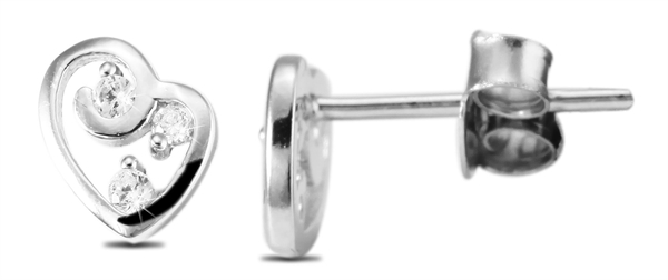 Echt Silber Ohrstecker, 925/, 1,0 gr., rhodiniert