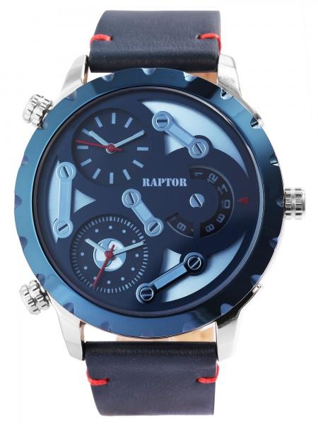 Raptor Herrenuhr mit Echt Lederband, 3 Uhrwerke