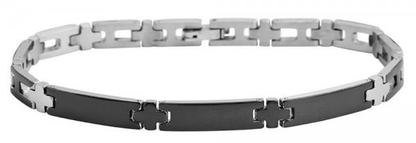 Akzent Gliederarmband aus Edelstahl in silberfarbig mit IP Black-Beschichtung