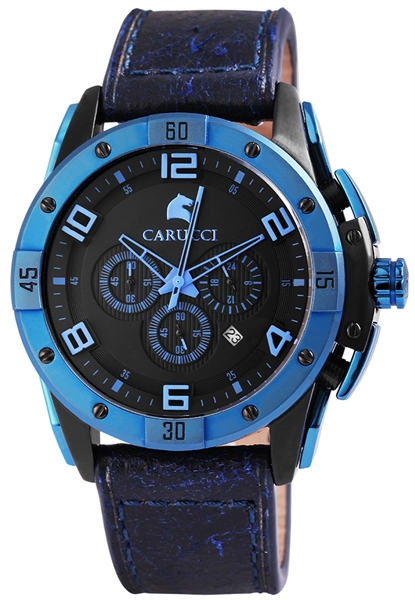 Carucci CA2214 Chronograph Herrenuhr mit Echtlederband - UVP 249,95 €