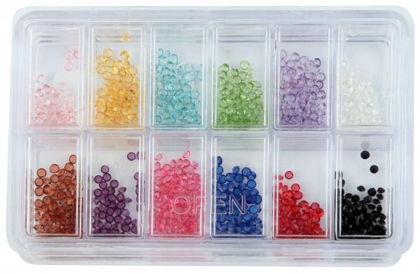 Zirkoniasteine im Sortiment in 12 verschiedenen Farben