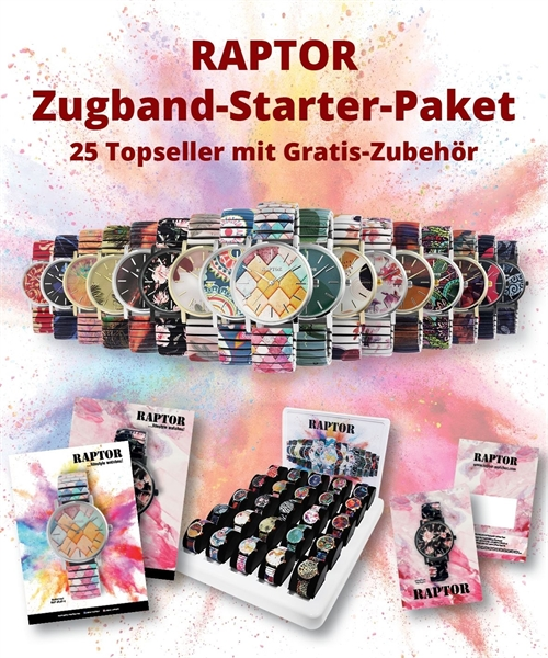 RAPTOR Damenzugbanduhren in Paket, 25 Uhren farblich sortiert