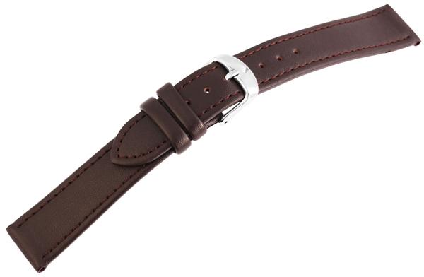 Basic Echtleder Armband in dunkelbraun, glatt, silberfabige Dornschließe