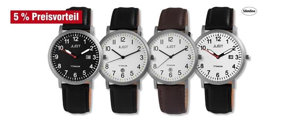 Just Herren Titan Uhren mit Echtlederband im 4er-Set, 5% Preisvorteil