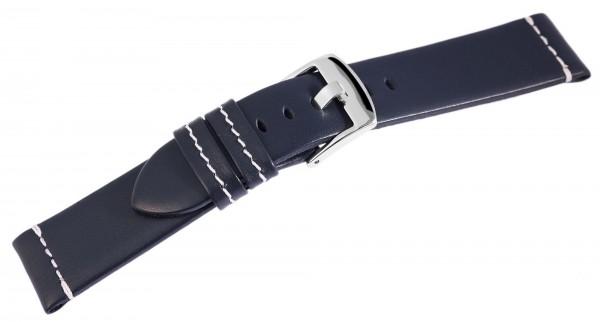 Echt Leder Armband, dunkelblau mit weißer Naht