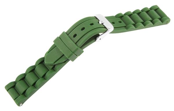 Just Silikon Uhrenarmband, dunkelgrün, Edelstahldornschließe, Anstoßbreite 18 mm