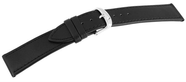 Basic Echtleder Armband in schwarz, glatt, flach, Dornschließe