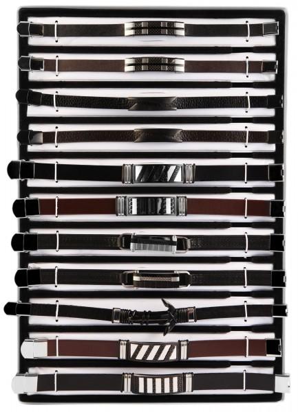 """SHAGHAFI 11 Armbänder Leder """"Mix Herren 3"""" im Display"""