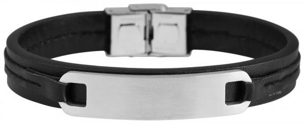 Akzent Armband aus Echtleder und Edelstahl mit IP Black-Beschichtung