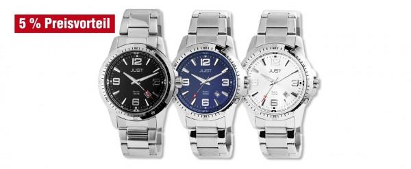Just Herren Analog Uhren mit Edelstahlband im 3er-Set, 5% Preisvorteil