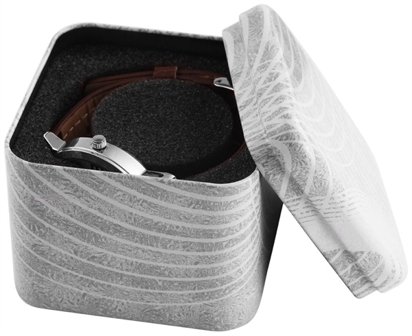 Uhrenverpackung aus Metall, Maße: 8 x 8 x 7 cm, dunkelgrau