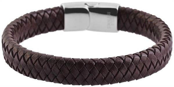 Akzent Geflochtenes Armband aus Echtleder und Edelstahl