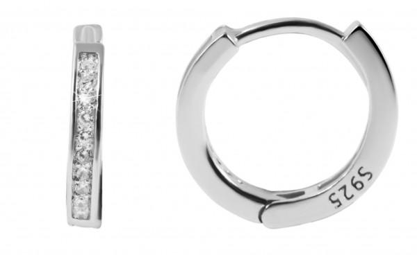 925 Echt Silber Klappcreolen mit Zirkoniasteinen