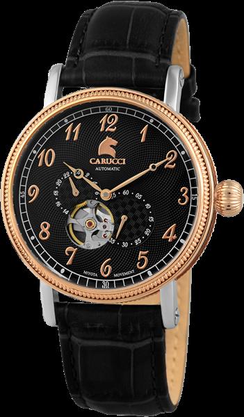 Carucci CA2201 Automatik Herrenuhr mit Echtlederband