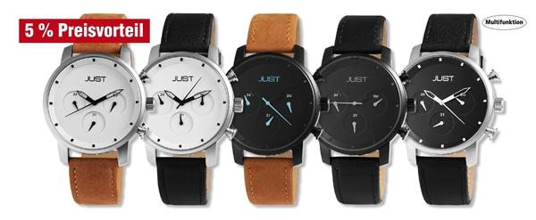 Just Herren Analog Uhren mit Echtlederband im 5er-Set, 5% Preisvorteil