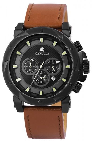 Carucci CA2218BK Chronograph Herrenuhr mit Echtlederband - UVP 209,00€