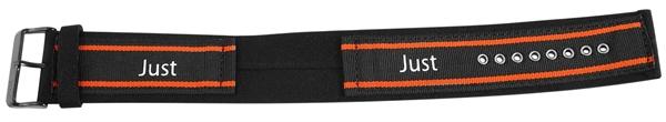 Just Textil Unterlegband in schwarz/orange, 24 mm Anstoß, Edelstahldornschließe