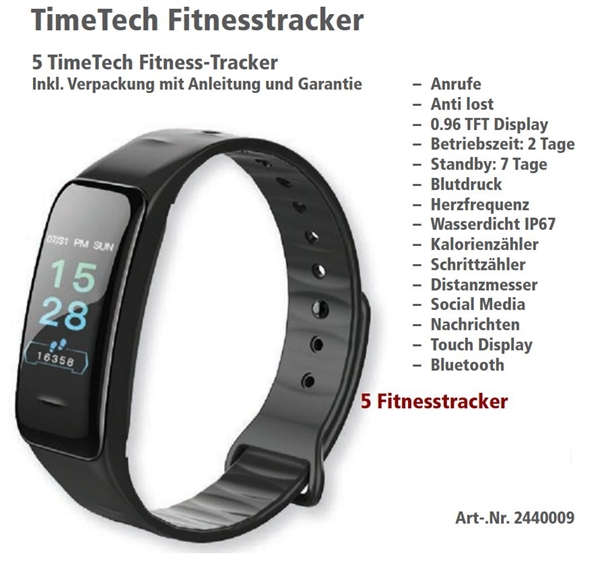 Timetech Fitnesstracker, 5 Stück inkl. Verpackung und Anleitung