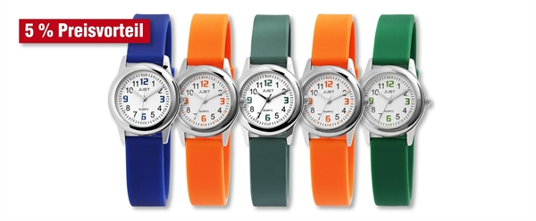 Just Kinder Uhren Edelstahl mit Silikonband im 5er-Set, 5% Preisvorteil