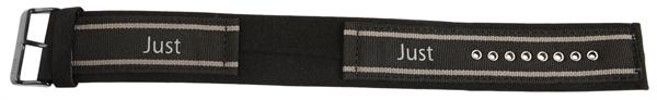 Just Textil Unterlegband in schwarz/grau, 24 mm Anstoß, Edelstahldornschließe