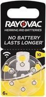RAYOVAC Hörgeräte Batterie, 6 Stück im Blister H10