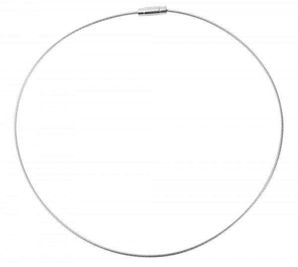 Akzent Edelstahl Damen Omega-Halsreif, Länge: 40 cm / Stärke: 1 mm