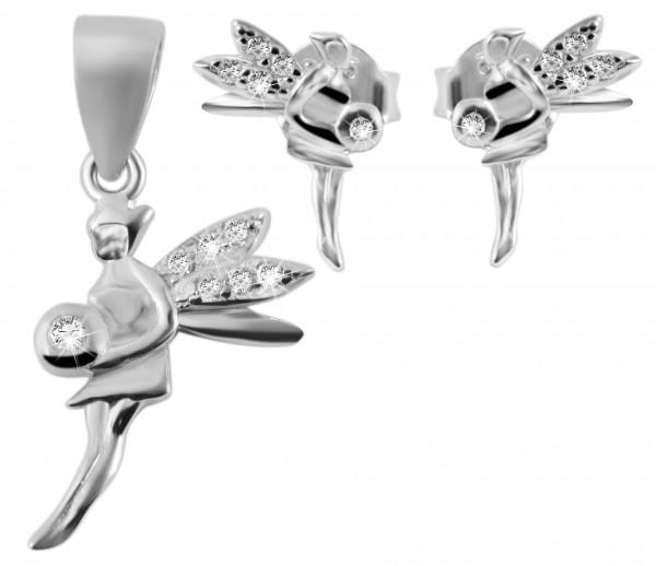 925 Silber Schmuckset mit Ohrring und Anhänger, 925/rhodiniert, 1,4g