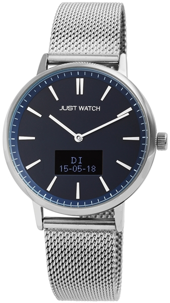 Just Watch Damen Hybrid Smartwatch Edelstahlmeshband