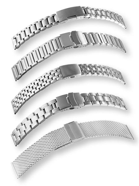 Uhrenarmbänder in Set aus Edelstahl, 12 St. sortiert, Gr. 18 - 26 mm