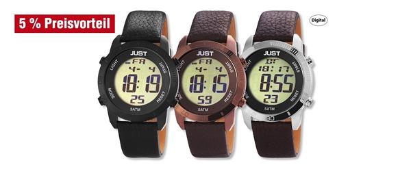 Just Herren Digital Uhren mit Echtlederband im 3er-Set, 5% Preisvorteil