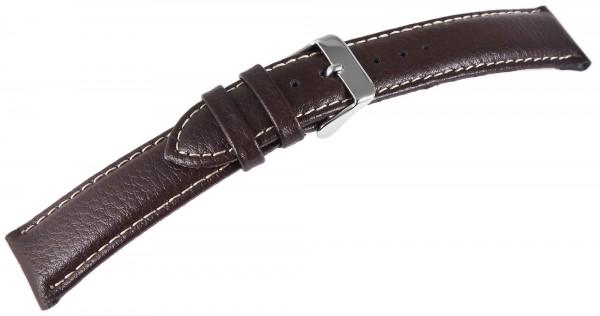 Basic Echtleder Armband in dunkelbraun, genarbt, gepolstert, Dornschließe
