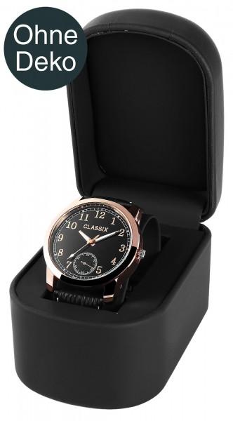 Uhrenverpackung, schwarz (ohne Deko), Maße: 7,3 x 10,3 x 8,3 cm