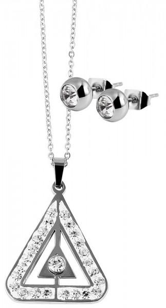 Edelstahl Schmuckset (Ohrring und Kette) Silber mit weißen Steinen
