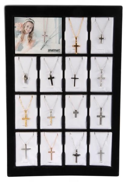Shaghafi 14 Edelstahlketten mit Kreuzanhänger im Display