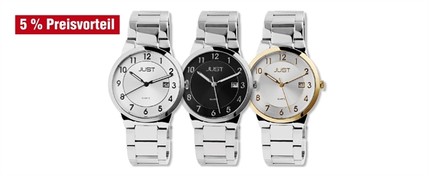 Just Herren Uhren mit Edelstahlband im 3er-Set, 5% Preisvorteil