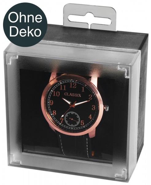 Uhrenbox aus Kunststoff, schwarz/transparent, aufhängbar