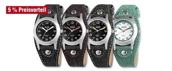Just Kinder Analog Uhren mit Textilband im 4er-Set, 5% Preisvorteil