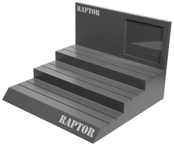 Raptor Schaufenster Display, grau