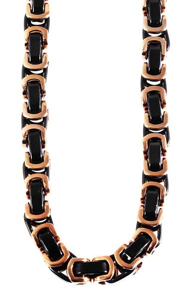 Akzent Königskette, Edelstahl, roségoldfarben/schwarz